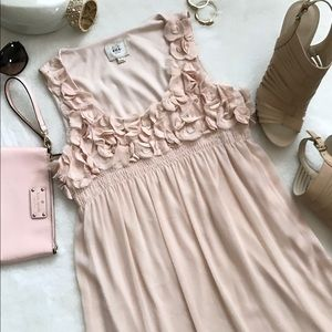 ECI Blush Empire Waist Rosette Detail Dress Size 4